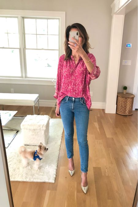 Outfit of the day… love this flowy pink print top paired with my fave denim brand Agolde and my Jimmy Choo silver pumps.   #LTKworkwear #LTKstyletip #LTKshoecrush