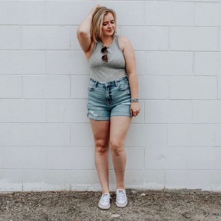 Casual mom shorts outfit with $8 basic target tank! Curvy shorts, curvy mom shorts, high neck tank, basics, converse, sneaker, wrap bracelet, accessories, dainty jewelry, easy outfit, starter outfit, pear shape, petite, target, American Eagle. http://liketk.it/2NBcH #liketkit #LTKsalealert #LTKshoecrush #StayHomeWithLTK @liketoknow.it