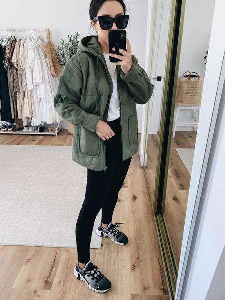 Caslon green jacket. Best fall jacket. On sale!  Jacket- Caslon small, need the xs Leggings- Ingrid & Isabel 1 Sneakers- Nike 6 (go up half a size)  #LTKsalealert #LTKunder100
