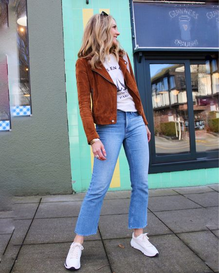 """Happy dance😁☀️ Days are getting longer & jackets are getting lighter!🙌🏼 Leather jackets are just the thing right now—yay no chilly breeze cuts through!—and I love how it snazzes up a basic jeans & tee outfit👖👕💫 • This suede moto has been such a workhorse in my wardrobe! I've had it for several seasons & it's a classic + still available!🥳 My exact color isn't in stock, but I've linked other colors I love at great price points...come to find out, this is a GREAT time to buy a leather moto—sales galore!!👍🏼  How to shop: 1️⃣Download the @liketoknow.it app & follow """"lastseenwearing"""" 2️⃣OR click on link in bio to shop on our website!🛍  http://liketk.it/3aBu3 #liketkit #LTKsalealert #LTKunder50     Blank nyc Moto jacket Suede jacket  Lightweight jacket  Spring jacket  Spring outfit  Casual outfit  JCrew jeans Blogger favorite  Sale jacket"""
