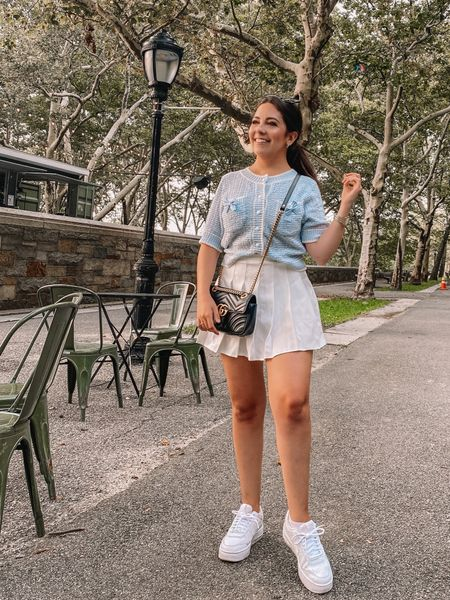 Yesterday was a whirlwind but got to celebrate my friend's graduation from the Columbia journalism school masters program! If you live in NYC you should definitely go to Ellington in the Park — it's one of our faves and is so cute for a casual dinner and drinks!   Was feeling the preppy vibe in this fit yesterday! Definitely saving this top for one of the days I go into the office! Also, I got two compliments on it yesterday and was told it gave major Chanel vibes which is just the ultimate compliment 🤩  #LTKbacktoschool #LTKworkwear #LTKSeasonal