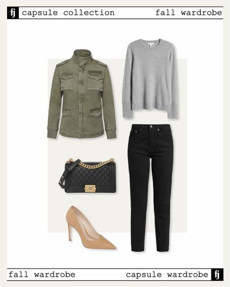Fall capsule wardrobe. Utility jacket outfit idea for business casual workwear. Grey cashmere sweater, black jeans, nude pumps,   #LTKstyletip #LTKunder50 #LTKunder100