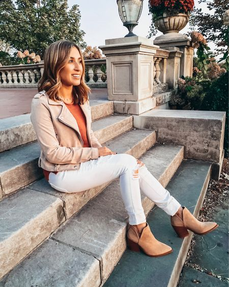 Thank goodness for golden hour and suede jackets, yanno? Also, I get white denim after LDW is frowned upon, but I'm here for it 🙌🏼 This sweater tank is on sale for under $30 btw and there's still some left in a pretty creamy white! I have both 🤦🏻♀️ #suedeboots   Shop all my looks in the LIKEtoKNOW.it app! Simply download the app, give me a follow or screenshot one of my IG pictures to shop! http://liketk.it/2FULH #liketkit @liketoknow.it