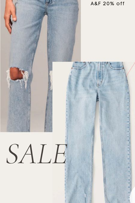Abercrombie jeans on sale, straight leg jeans, ripped jeans, high waisted jeans, light wash denim   #LTKunder100 #LTKsalealert
