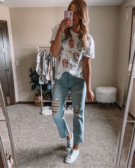 Rolling Stones tee on sale for $10 / target LONG jeans / $25 cheetah sneakers / target finds / fall outfits Xl tee 10 long jeans 11 sneakers  #LTKstyletip #LTKunder50 #LTKshoecrush