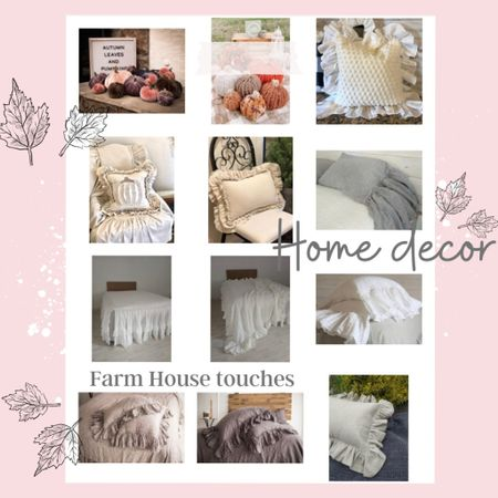 Home decor Boho/ Farm house pillows, bedding and Fall velvet pumpkins 🍁🌸🍂 . #pillowlover big ruffled pillows Pillows I love and give that beautiful soft feel to any room. These are what you see on my home tours! 🌸🍂 .   #LTKstyletip #LTKSeasonal #LTKhome