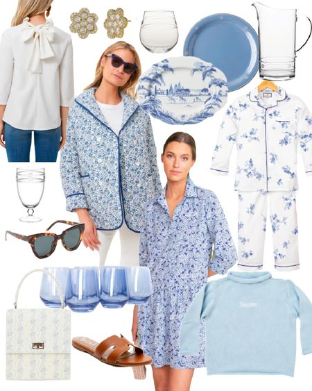 Blue and white Finds! Blue quilted coat, juliska plates, acrylic, name sweater, bow top, wine glasses, sandals, tuckernucking   #LTKGiftGuide #LTKHoliday