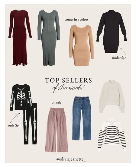 Top sellers of the week 🙌🏼  Dresses, fall fashion, kids costume, Halloween, sale, Abercrombie, denim, sweaters, Walmart, Free Assembly, Nordstrom, sweater dress