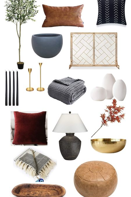 Amazon Home Fall home decor, accessories, decorating, candle sticks, throw blanket, velvet pillows, lamp, olive tree, planter, brass bowl, fireplace screen, leather ottoman pouf, faux branch, vase set   #LTKunder50 #LTKSeasonal #LTKhome