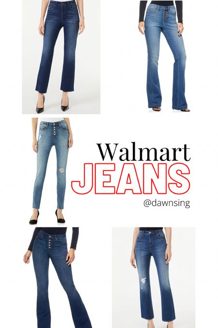 Round up of jeans I'm loving from Walmart! Tip: I sized down one on the skinnies and they're perfect! They've lots of great stretch. Plus, they're only $13!! Also, in the lighter colored flares, I got the short length so I can wear them with flats. The other flares are longer and work better for me, with a bit of a taller shoe or boot. Hth!!  #LTKsalealert #LTKunder50 #LTKstyletip