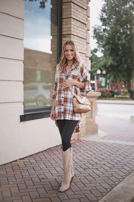 Plaid tunic, runs oversized. Wearing xs and plenty of room. Super soft and perfect for fall transition weather. Boots are true to size.   #LTKshoecrush #LTKbump #LTKSeasonal