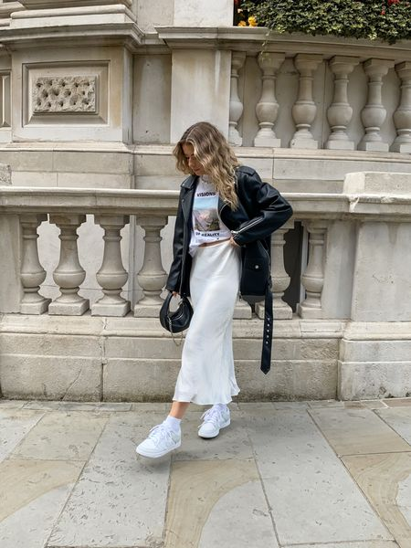 I love this Missguided oversized leather jacket teamed with this gorgeous satin skirt for an edgy yet feminine look     #LTKeurope