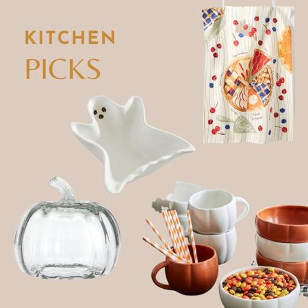 Fall kitchen, fall table decorating, Halloween able, ghost dish, ghost bowl, pumpkin mugs, pumpkin bowls, glass pumpkin, pie towel   #LTKHoliday #LTKunder50 #LTKhome