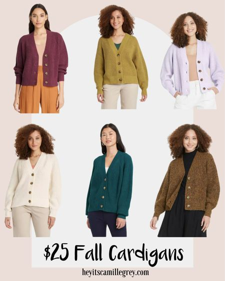 Target $25 button cardigans. I have my eye on the brown and green one! Comes also in cream, jewel tone blue, maroon and light purple. These are so perfect for fall time. Pair with a dress or shirt with jeans  #LTKunder50 #LTKstyletip #LTKunder100