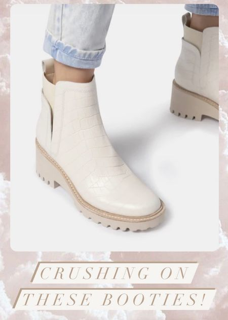 How cute are these booties for fall! Ivory croc print leather boots with lug sole  #LTKshoecrush #LTKbacktoschool #LTKstyletip