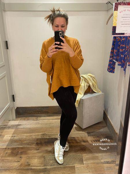 Super soft vneck sweater! Size down. Oversized blousy fit, shorter in the front, longer in the back perfect for leggings. Golden goose tts 37  #LTKshoecrush #LTKSeasonal #LTKstyletip