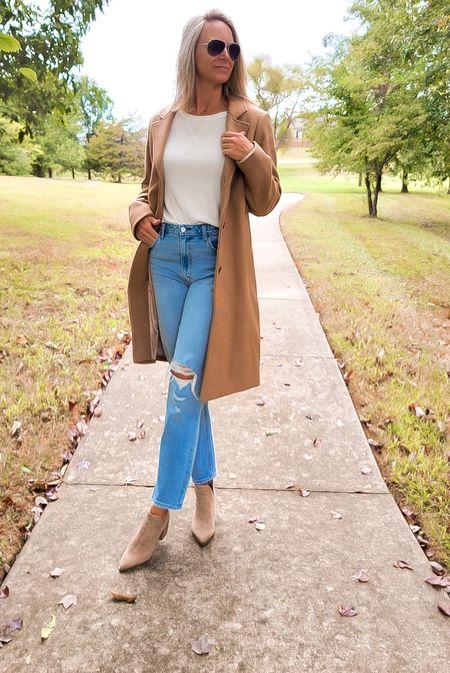 wool trench coat| Fall Fashion | Booties | Mom Jeans #ltkstyle #ltkshoecrush