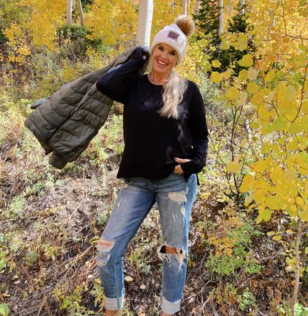 The perfect casual outdoor look! Easy and relaxing style inspo! Cozy light weight sweater, the best and comfortable boyfriend jeans, beanie and puffer jacket! .   #LTKstyletip #LTKSeasonal #LTKGiftGuide