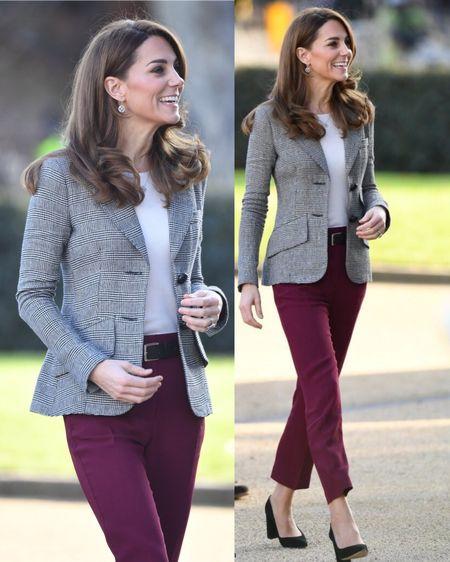 Kate Middleton in Smythe Glen Check 2 Button Blazer +  Joseph Zoom Cady Slim Trousers + Gianvito Rossi 85 Suede Pumps + Mappin & Webb Empress Earrings/Necklace #lktwork #work #professional http://liketk.it/2GOsu #liketkit @liketoknow.it
