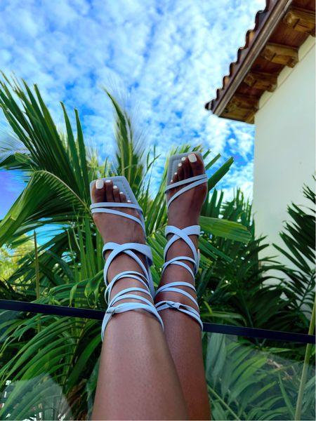 Block heel blue strappy sandals.   #LTKstyletip #LTKshoecrush