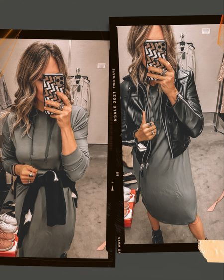 The comfiest NSALE dress! It even has a hood. Pair with a moto jacket or sweater around your waist. Comes in black, size down. On sale for $55.   #LTKunder100 #LTKstyletip #LTKsalealert
