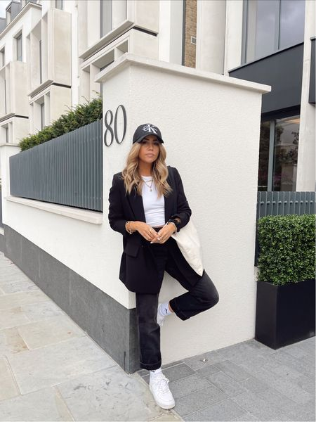 Simple monochrome black outfit for autumn fashion- Calvin Klein cap - black cap with asos black blazer and asos collusion black straight leg jeans - teamed with Nike Air Force 1 trainers for an effortless cool fall ootd   #LTKSeasonal #LTKeurope #LTKunder50