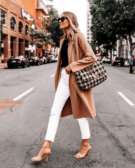 How to wear white after Labor Day. Love this fall outfit idea with a tan coatigan black sweater and heeled sandals #falloutfit #businesscasual #teacheroutfits   #LTKstyletip #LTKunder50 #LTKsalealert