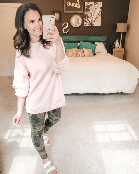 Camo leggings and pink! Such a cute combo!   http://liketk.it/2OgTo #liketkit @liketoknow.it You can instantly shop my looks by following me on the LIKEtoKNOW.it shopping app