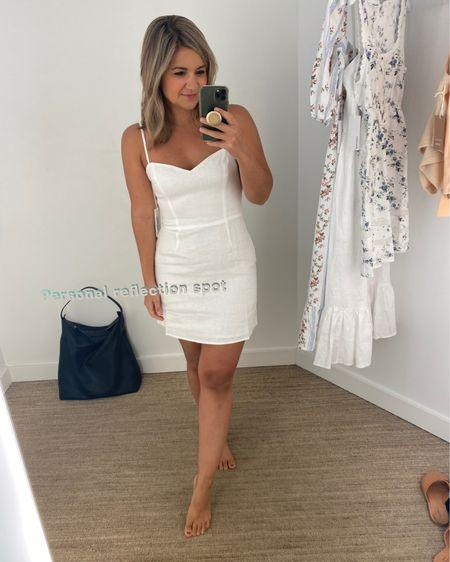 Rehearsal dinner dress option! Runs true to size (I'm wearing a size 2). #liketkit http://liketk.it/3idKU @liketoknow.it #LTKwedding bridal event White dress Bridal shower dress Petite blogger