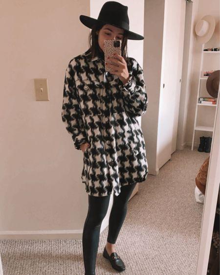 @liketoknow.it http://liketk.it/31zjM #liketkit  Houndstooth Shacket Oversized Faux leather legging outfit ideas Hat Fall outfit  #LTKunder100 #LTKstyletip #LTKunder50
