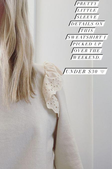 Affordable sweatshirt with shoulder ruffle detail 🤍 #liketkit http://liketk.it/3bH82 @liketoknow.it #LTKunder50 #LTKstyletip