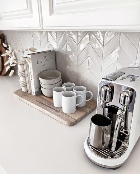 Coffee bar, espresso machine, kitchen accessories, kitchen essentials, neutral home decor, simple home decor, white kitchen, StylinByAylinHome
