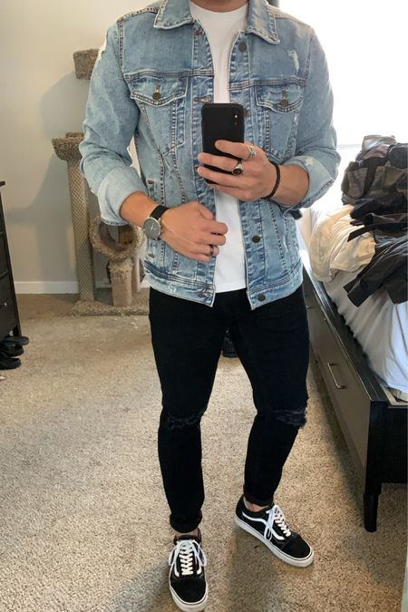 Men's streetstyle, went with a men's denim jacket with a white T-shirt underneath and distressed black jeans. I also added some silver rings and a black leather watch for my accessories. Always match your metals guys.  http://liketk.it/2L8zH #liketkit #LTKunder100 #LTKmens #LTKstyletip @liketoknow.it