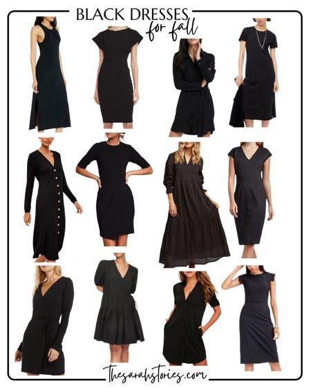 FALL WARDROBE ESSENTIALS: BLACK DRESS: Which style would YOU wear best? Sheath, midi, maxi, shirt?   #LTKunder50 #LTKstyletip
