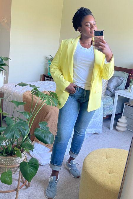New balance with yellow blazer. Yellow is still a good fall item   #LTKSale #LTKshoecrush #LTKcurves