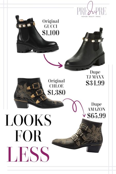 Who says you have to spend a lot to look great? Nope! Check out these looks for less. Booties to add to your fall collection.  ankle boots, fashion dupes, dupes, boots, affordable shoes, affordable looks, fall outfit, fall ootd, fall wear  #LTKstyletip #LTKunder100 #LTKunder50