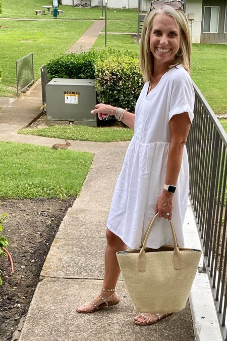 White dresses and summer are a match made in heaven! Target dress for $20. Wearing size small   #LTKunder50 #LTKSeasonal #LTKstyletip