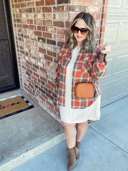 Shacket size large  Dress size 14 Boots tts   #LTKstyletip #LTKcurves #LTKunder50