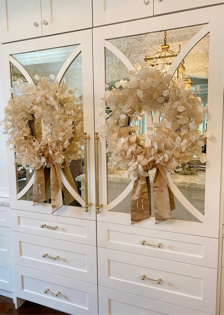 Love these wreaths for fall with this gorgeous monogrammed gold wreath sash.   #LTKSeasonal #LTKhome #LTKstyletip