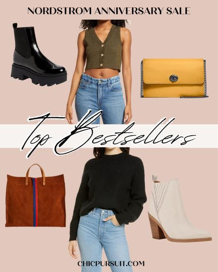 Nordstrom's Anniversary Sale is coming to an end soon, so I'm sharing with you all the top bestselling-products in the sale, line these black combat boots that look like Doc Martens, an olive green crop top, a black sweater, a camel tote bag, white ankle boots and a yellow cross body bag! ✨ Found something you like? 🥰 @liketoknow.it #liketkit    #LTKsalealert http://liketk.it/3l9AK #LTKshoecrush #LTKitbag