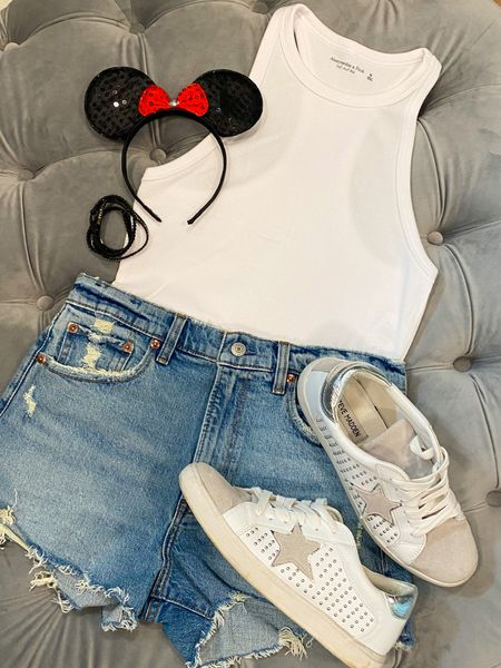 Disney here we come! So fun to pair a fun shoe with some neutral basics. #disneyoutfit #abercrombie #momshorts #denimshorts #traveloutfit #basics  #LTKstyletip #LTKunder50 #LTKtravel