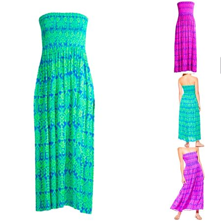 I just ordered this strapless smock top maxi dress in size large and in green / blue. Love the bright colors and strapless is nice on hot beach or boating days. I know it's one I'll wear a lot! Excited to knot the front corner to shorten the dress up when I want. Comfortable and pretty throw on and go! ☀️ #LTKunder50 #LTKstyletip #LTKcurves #liketkit @liketoknow.it http://liketk.it/2R0zt