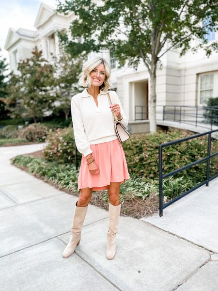 Paired this cream sweater over this @walmart free assembly dress and added suede knee high boots for an affordable fall look under $100!  #LTKSeasonal #LTKstyletip #LTKunder100