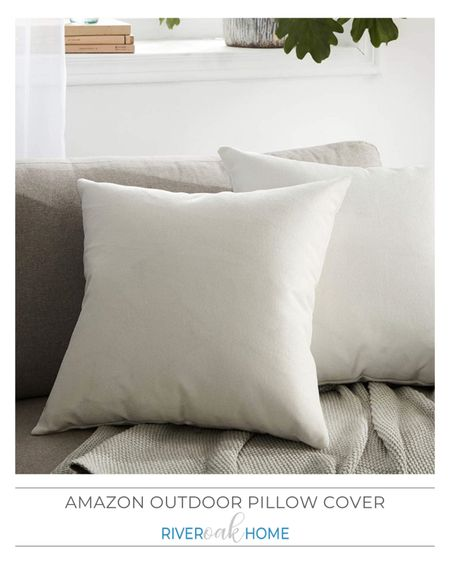 An affordable outdoor pillow cover with a linen look.    #LTKunder50 #LTKunder100 #LTKhome