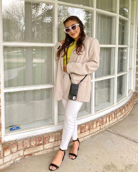 Bandolier Crossbody Phone Case 🤳🏼   Neutral blazer Ruffle rubbed top White jeans Black sandals  http://liketk.it/3ePto #liketkit #LTKunder100 #LTKfit #LTKworkwear #LTKSeasonal @liketoknow.it