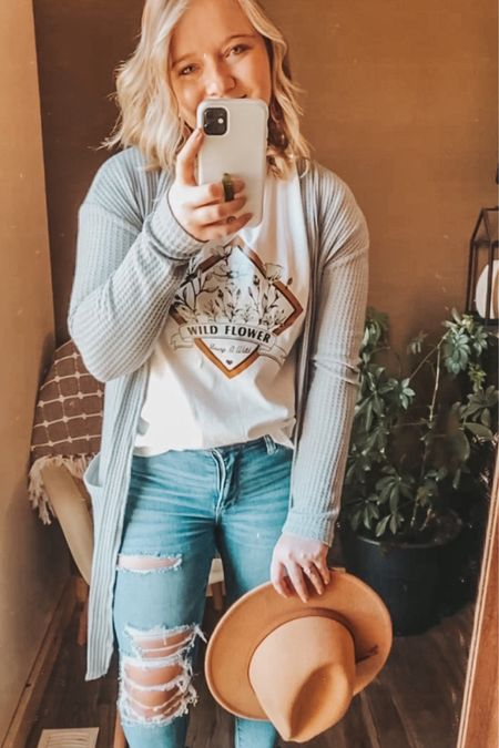 Graphic tee, fall graphic tee, $9 tee, SHEIN graphic tee, fall outfit, gray long cardigan, fall outfit idea, amazon hat, felt hat.   http://liketk.it/303iZ #liketkit #LTKsalealert #LTKstyletip #LTKunder50 #ltkfall @liketoknow.it