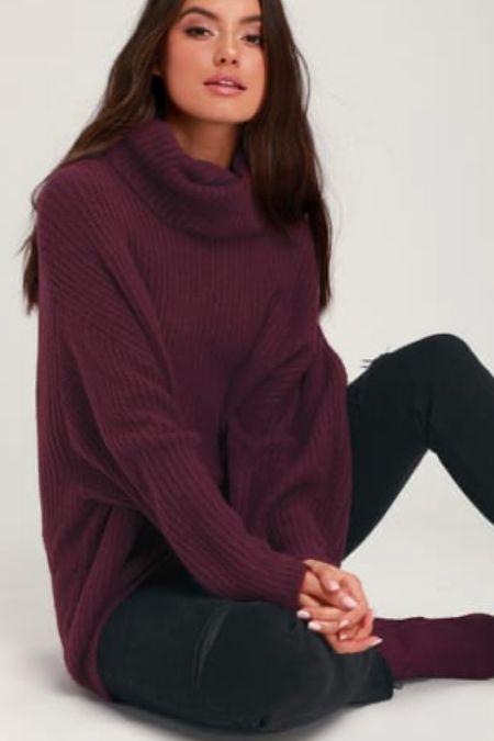 Love the plum color of this sweater. http://liketk.it/31FUd #liketkit @liketoknow.it #LTKstyletip #LTKunder100