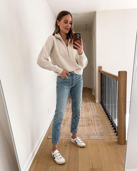 Everlane fall sweater, Everlane jeans, Veja sneakers, #falloutfits #sneakers #sweaters   #LTKunder100 #LTKshoecrush #LTKstyletip