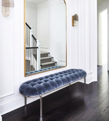 I'm obsessed with this CB2 tufted bench. I want this bench for my entryway because it adds a pop of color AND is a practical piece for extra seating. The blue color is gorgeous! I think it would also work in a living room or bedroom. Home decor. Fall home decor.   #LTKstyletip #LTKhome #LTKfamily