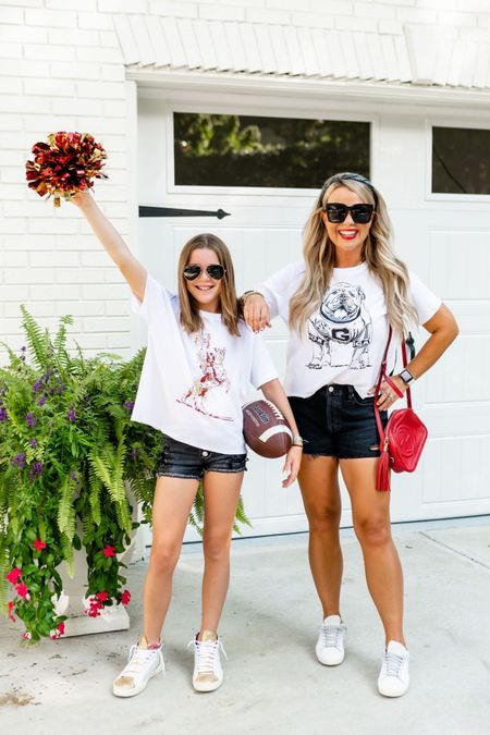 Code EBL20 for 20% off our @stewart_simmons tees. I'm wearing a small and Lily is in an XS.